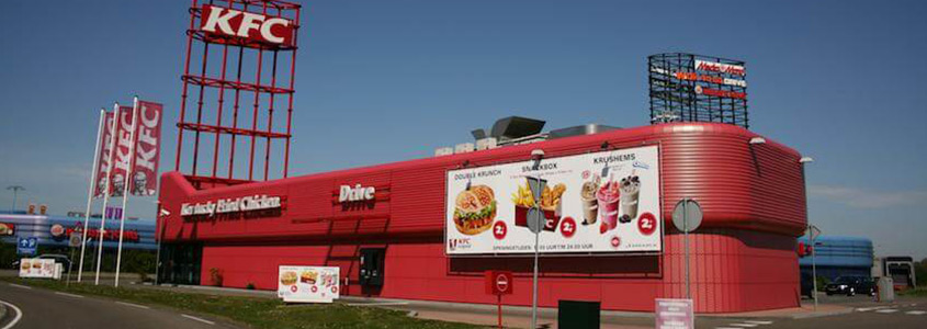 Sandwich panels on facade of KFC by AFS international