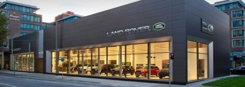 architectural cladding panels at landrover showroom in frankfurt
